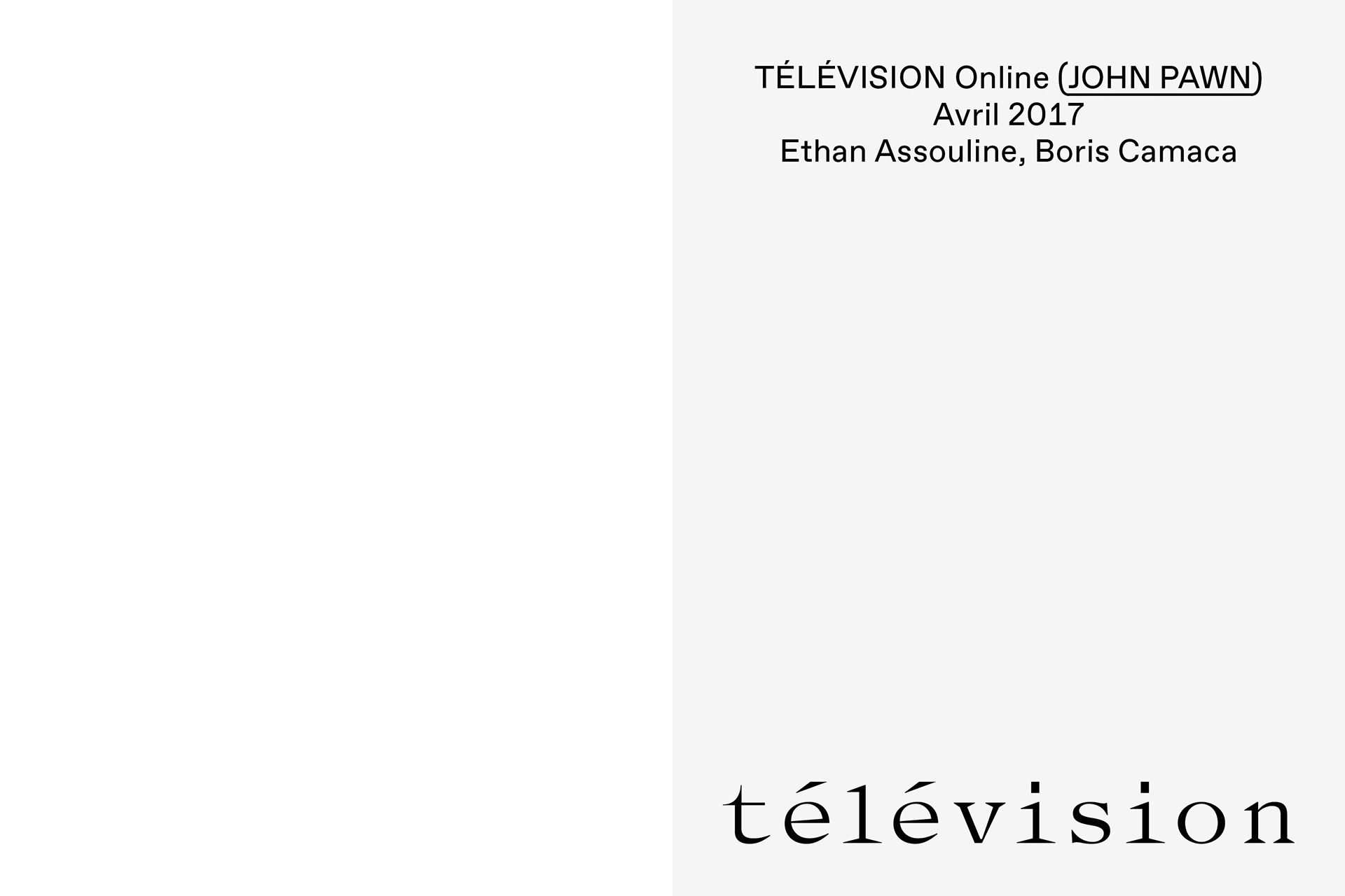 Télévision OL 1701 BC 010 047 JOHNPAWN (BC, EA, MG)
